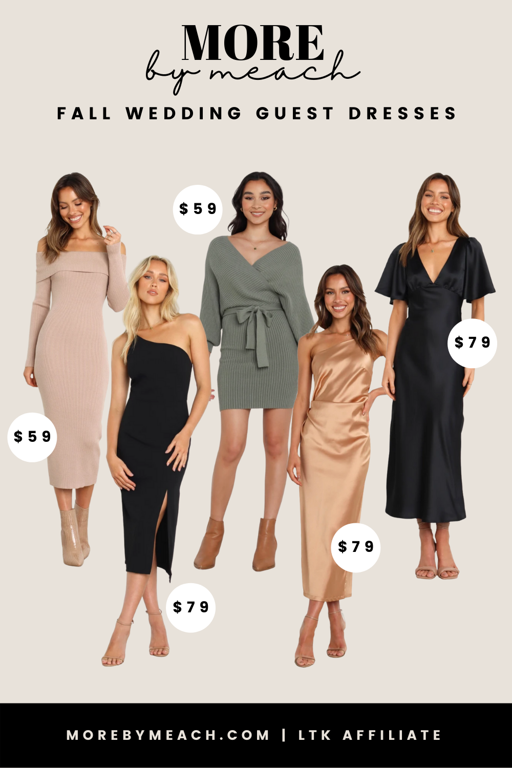 A collage of fall wedding guest dresses.