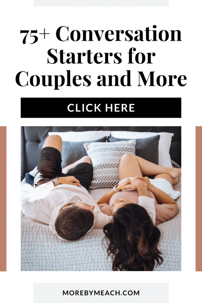 A graphic that says 75+ conversation starters for couples and more. It includes a picture of a couple lying in a bed.