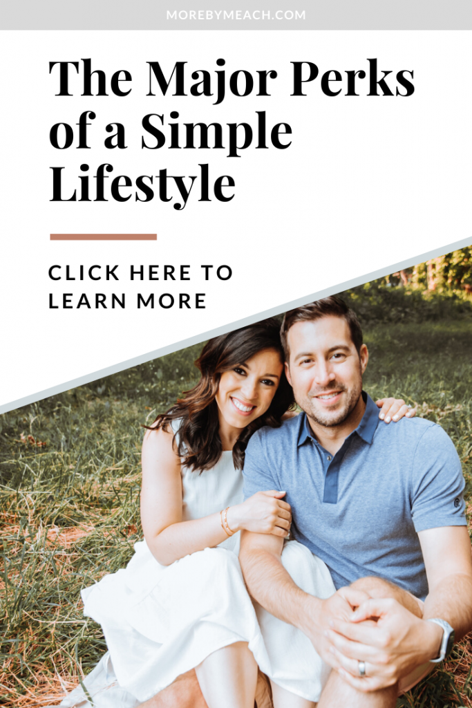 """A graphic that says """"the major perks of a simple lifestyle - click here to learn more""""."""