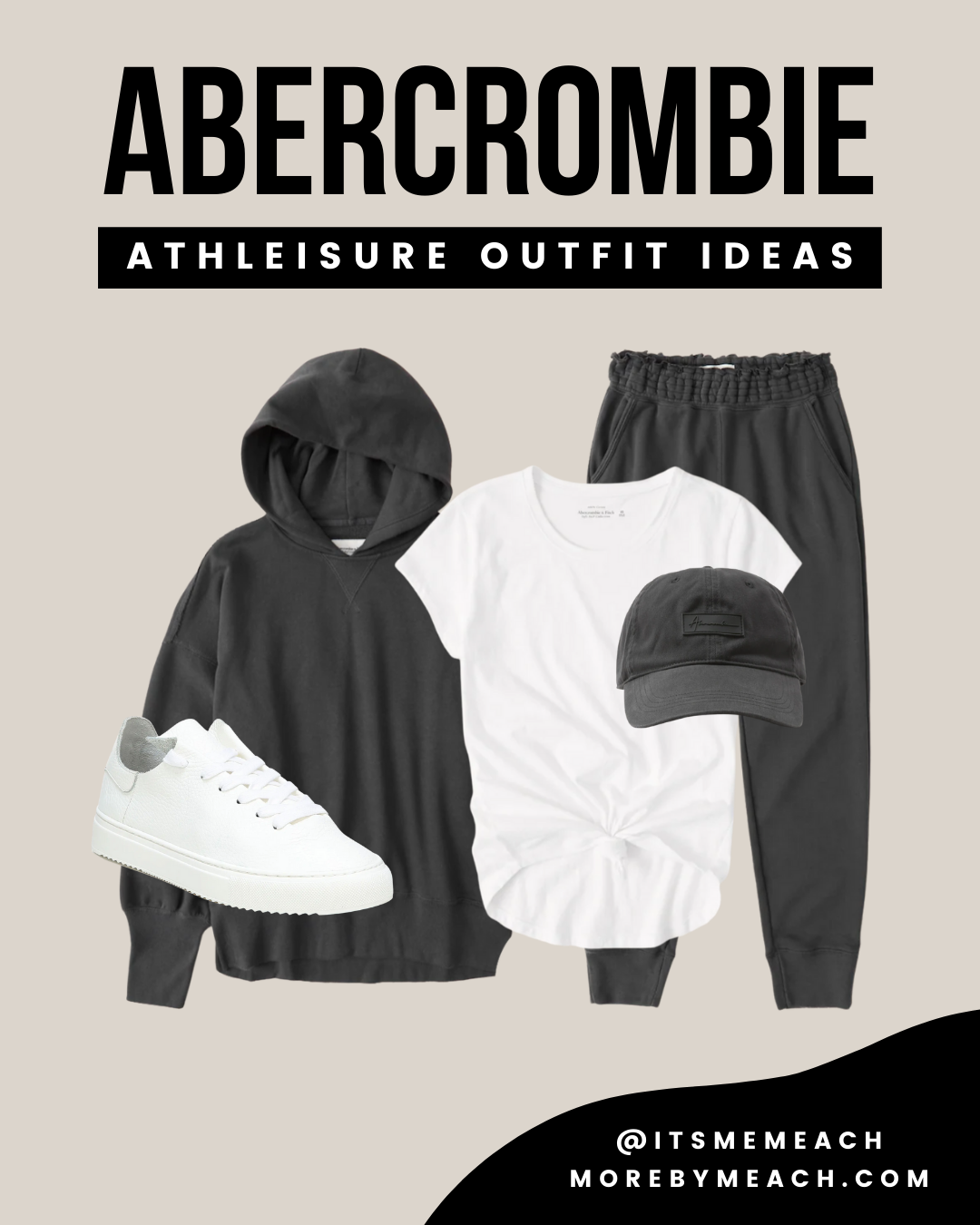 A charcoal gray sweatpants outfit using all Abercrombie pieces.