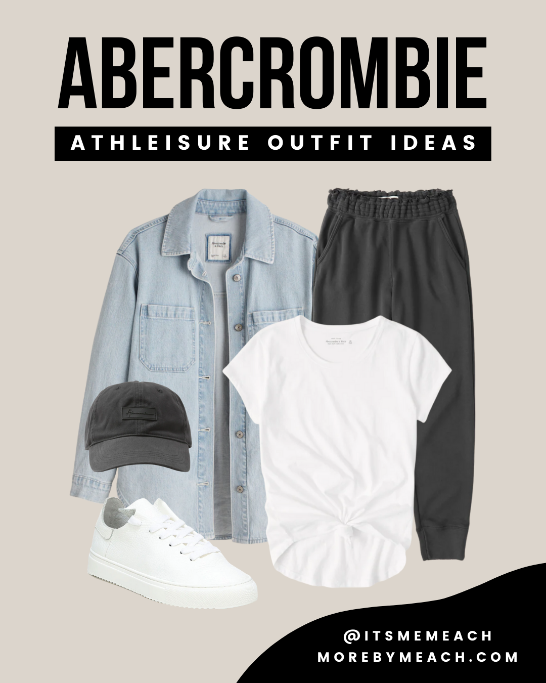 A cute travel outfit featuring Abercrombie sweatpants and a denim shacket.
