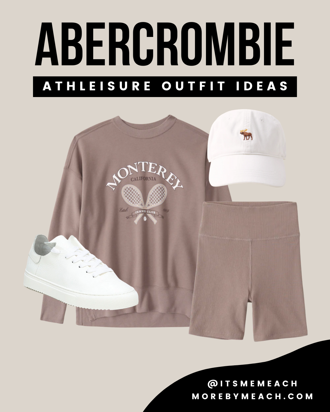 A biker shorts outfit for fall or spring featuring all Abercrombie and Fitch clothing essentials.