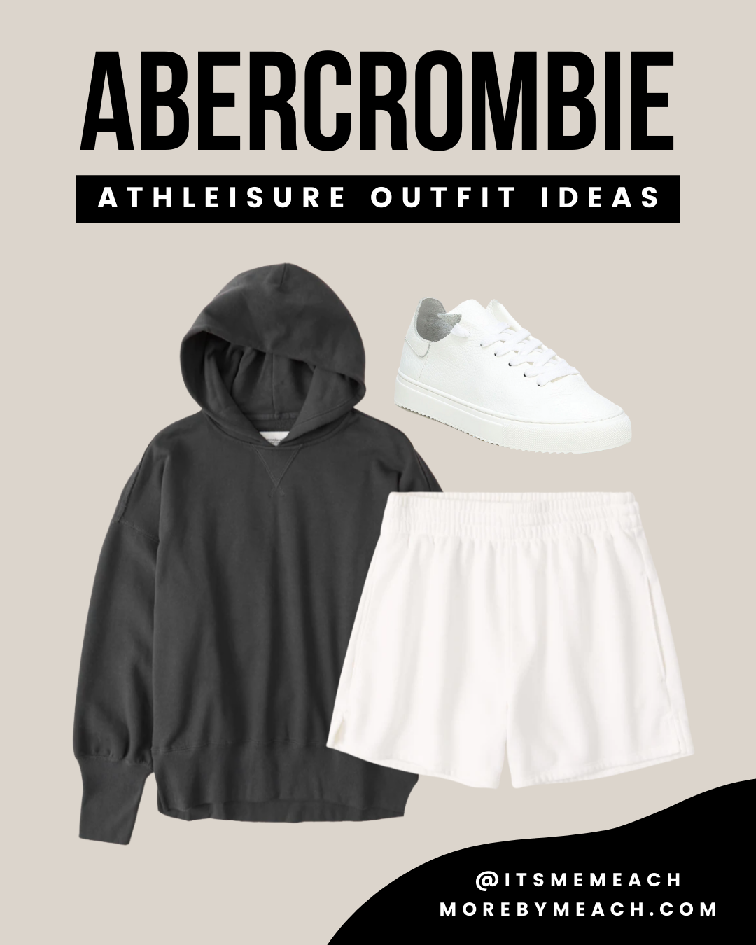 A cute spring or fall sweatshirt outfit featuring sweat shorts and white sneakers.
