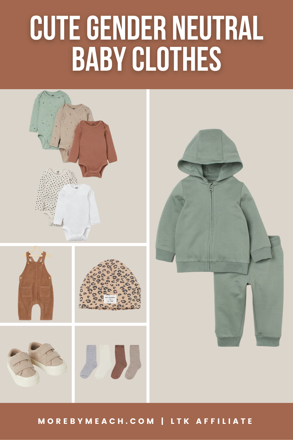A collage featuring cute gender neutral baby clothes from H&M baby.